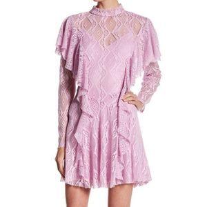 Free People Mock Neck Ruffle Lace Dress Wisteria
